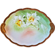 "Beautiful Ginori Vintage 1900's Hand Painted ""White Lily"" 10-1/2"" Floral Dresser Tray by the Artist, ""R. Cioni"""