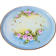 "Splendid 16"" T & V Limoges France & J.H.Stouffer Studio of Chicago 1906 Hand Painted ""Pink Roses"" Floral Tray"