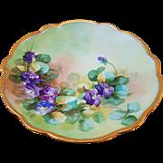 "Wonderful Limoges France & Pickard Studio of Chicago 1905 Hand Painted Lifelike ""Violets"" Floral Plate"