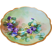 "Wonderful Limoges France & Pickard Studio of Chicago 1905 Hand Painted Lifelike ""Violets"" Floral Plate"