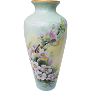 "Beautiful Bavaria 1900's Had Painted ""Wild Pink Roses"" 10-1/2"" Floral Vase by the Artist, ""G. Corius"""