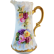 "Fabulous Vintage T & V Limoges France 1900's Hand Painted ""Red, Pink, & Yellow Roses & Violets"" Floral Tankard by the French Artist, ""Rousset"""