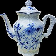 "Exquisite German Pre-1900's Hand Painted Fancy ""Blue Onion"" 9"" Floral Coffee Pot"