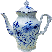 "Exquisite German Pre-1900's Hand Painted Fancy ""Blue Onion"" 9"" Floral Coffee Pot"