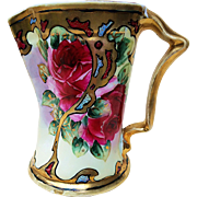 """Gorgeous & Fancy Bavaria 1900's Hand Painted Vibrant """"Deep Red Roses"""" 6"""" Floral Pitcher"""