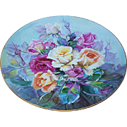"""Gorgeous Nippon Noritake 1900's Hand Painted Vibrant """"Red, Pink, Yellow,& Peach Roses"""" 10"""" Floral Plate by the Artist, """"Senda T."""""""