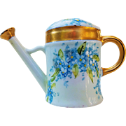 "Beautiful Germany 1916 Hand Painted ""Forget Me Not"" Miniature Sprinkler Can by the Listed Artist, ""Christina Mueller"""