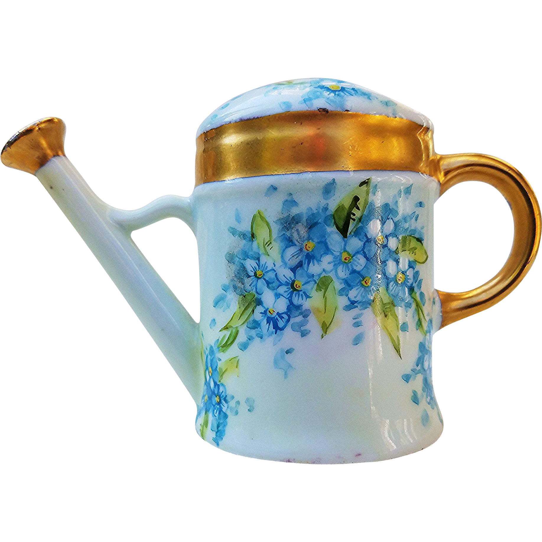 """Beautiful Germany 1916 Hand Painted """"Forget Me Not"""" Miniature Sprinkler Can by the Listed Artist, """"Christina Mueller"""""""
