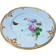 """Beautiful Vintage 1900 Limoges France Hand Painted """"Wild Pink Roses With Butterfly"""" 8-1/2"""" Floral Plate"""