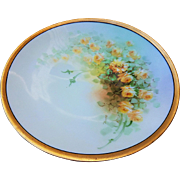 """Beautiful Vintage Bavaria & Osborne Studio of Chicago 1914 Hand Painted """"Petite Yellow Roses"""" 9-1/4"""" Floral Plate by Listed Artist, """"Asbjorn Osborne"""""""