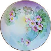 """Gorgeous Vintage Ginori 1900's Hand Painted """"Pink Daisies"""" Floral Plate by the Artist, """"O. Biny"""""""