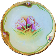 "Beautiful Germany Rudolstadt 1900's Hand Painted ""Pink Tulips"" Floral Plate, Artist Signed"