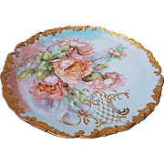 "Fabulous 16"" T & V Limoges France 1900's Hand Painted ""Peach Roses"" Rococo Style Floral Tray"
