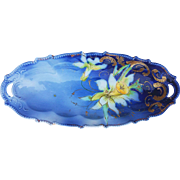 "Beautiful RS Prussia 1900's ""White & Yellow Jonquil"" 9-1/2"" Cobalt Blue Floral Tray"