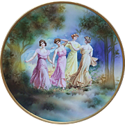 "Exceptional Scarce & Large RS Prussia 1900's ""The Four Dancing Maidens"" 12-1/4"" Scenic Charger"