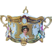 "Fabulous RS Prussia 1900's Double Portrait Of ""Madame Élisabeth Vigée Le Brun & Roses"" Ribbon & Jewel Cracker Jar"