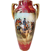 "14-1/2"" Spectacular & Scarce RS Prussia Vintage 1900's ""Napoleon Reviewing the Imperial Guard"" Scenic Vase"