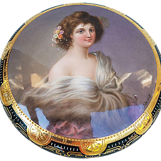 "Museum Quality 8"" Royal Vienna 1900's Hand Painted ""Portrait of A Lady"" Gorgeous Dresser Box by Artist, ""J. Dahn"""