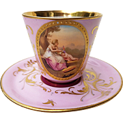 """Beautiful Vintage European 1900's Hand Painted """"Mother & Son"""" Scenic Cup & Saucer by the Artist, """"A. Heer"""""""