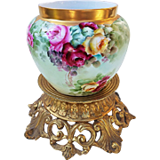"""Stunning Bavaria 1900's Hand Painted """"Red, Pink, & Yellow Roses"""" Floral Jardiniere, Artist Signed"""