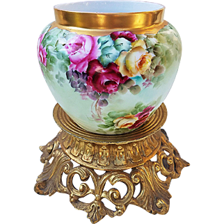 "Stunning Bavaria 1900's Hand Painted ""Red, Pink, & Yellow Roses"" Floral Jardiniere, Artist Signed"