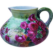 """Breathtaking Vintage Hohenzollern Germany 1900's Hand Painted Vibrant """"Deep Red Roses"""" Floral Cider Pitcher"""