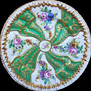 "Wonderful Vintage Sèvres France Pre-1850 ""Wild Flowers & Blackberries"", With Heavy Gold Gilding, 8-3/8"" Floral Plate"