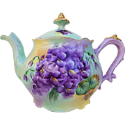 "Gorgeous Vintage Bavaria 1900's Hand Painted ""Violets"" Floral Tea Pot by the Artist, ""Blanche Johnson"""