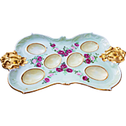 "Spectacular Limoges France 1900's Hand Painted ""Deep Red & Pink Roses"" 9-5/8"" Floral Egg Tray Holder"