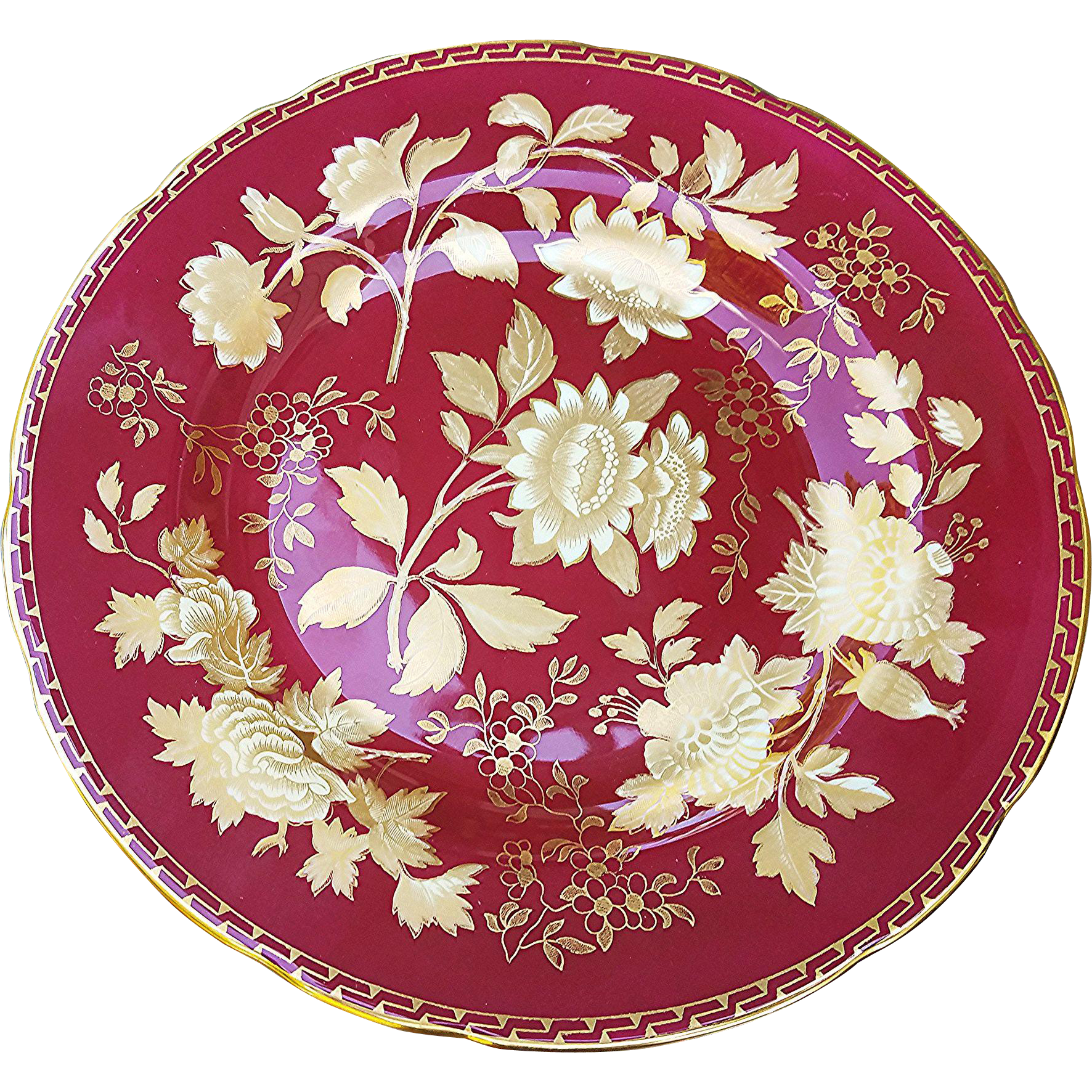 "Beautiful English Wedgwood 1930's Tonquin' Ruby Red 8-1/4"" Floral Plate"