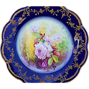 "Exceptional Limoges France 1900's Hand Painted ""Red & Pink Roses"" 9-7/8"" Floral Plate by the Artist, ""T. Garville"""