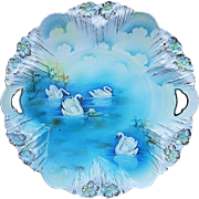 """Large 11"""" RS Prussia 1900's Vintage """"Swans on the Lake"""" Spectacular Scenic Icicle Mold Plate"""