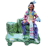 "Beautiful Majolica 1900's Hand Painted ""Sitting Indian With Peace Pipe"" 8-1/4"" Figural 3 Sectional Smoke Set"