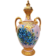 "Magnificent D & Co. France 1900 Hand Painted Vibrant ""Blue Corn Flowers"" 12-1/2"" Pedestal Potpourri Floral Vase With Dragon Heads"