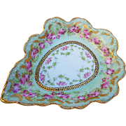 "Gorgeous Limoges France 1900's Hand Painted ""Chain of Petite Red & Pink Roses"" Scallop Floral Tray"