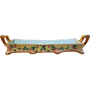 "Attractive Vintage German 1900 Hand Painted ""Chain of Yellow Roses"" 7-1/4"" Footed Floral Sugar Cube Holder"