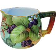 "Beautiful Bavaria 1900's Hand Painted ""Blackberry & Flower"" Fruit Cider Pitcher by the Artist, ""L.H.S."""