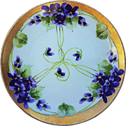 "Beautiful E.W. Donath Studio of Chicago 1906 Hand Painted ""Violets"" 8-7/8"" Floral Plate by the Artist, ""Tontius"""