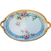 "Vintage GDA France 1920's Hand Painted ""Petite Pink Roses"" 15"" Floral Tray by the Early Chicago Artist, ""Kimmel"""
