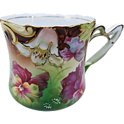 """Beautiful RS Prussia 1900's """"Purple Pansy"""" Floral Shaving Mug With Blown Out Flowers"""
