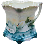 "Attractive Vintage RS Prussia 1900's ""Swans on the Lake"" Satin Finish Scenic Scuttle Shaving Mug"
