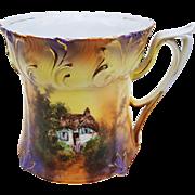 "Scarce RS Prussia Vintage 1900's ""Cottage"" Scenic Shaving Mug"