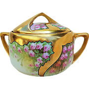 "Spectacular Rosenthal Bavaria & Osborne Studio of Chicago 1914 Hand Painted ""Petite Pink Roses"" Heavy Gilded Gold Floral Cracker Jar by Listed Artist, ""Asbjorn Osborne"""