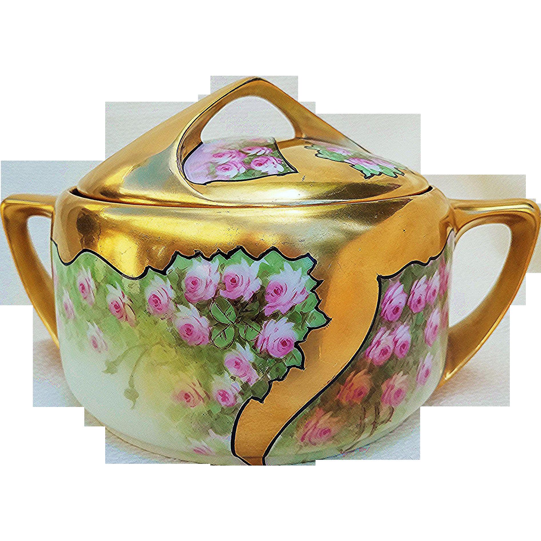 "Spectacular Rosenthal Bavaria & Osborne Studio of Chicago 1914 Hand Painted ""Petite Pink Roses"" Heavy Gilded Gold Floral Cracker Jar by Listed Artist, ""Asbjorn Osborne"""