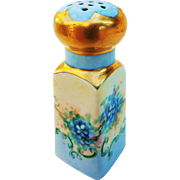 """Gorgeous Bavaria 1900's Hand Painted """"Forget Me Not"""" 3-5/8"""" Floral Shaker, Artist Signed"""