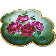"""Wonderful Rosenthal Bavaria Vintage 1900's Hand Painted """"Deep Red Roses"""" 12-3/8"""" Floral Tray by the Artist, """"R. Dufour"""""""