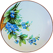 """Bavaria & E.W. Donath Studio of Chicago 1906 Hand Painted Lifelike """"Forge Me Not"""" Floral Plate by the Artist, """"Wenzel Pfohl"""""""