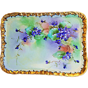 "Beautiful Limoges France 1905 Hand Painted Lifelike ""Violets"" Floral Tray by the Pickard Artist, ""Joseph Blaha"""