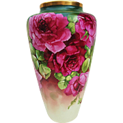 "Spectacular Willets Belleek 1900's Hand Painted ""Deep Red Roses"" Floral Vase by the Listed Artist, ""Edward Heyn"""