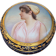 "Museum Quality 6"" Royal Vienna 1900's Hand Painted ""Portrait of Aeuone"" Gorgeous Dresser Casket Box by the Artist, ""Wagner"""